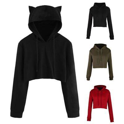 Women Teen Girls Cute Cat Ear Sweatshirt Crop Top Hoodies Long Sleeve -