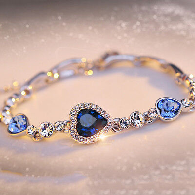 Hot Chic Blue Crystal Jewelry Silver Plated Charm Bracelet Bangle for women Girl - Hot Blue Bracelet Charms