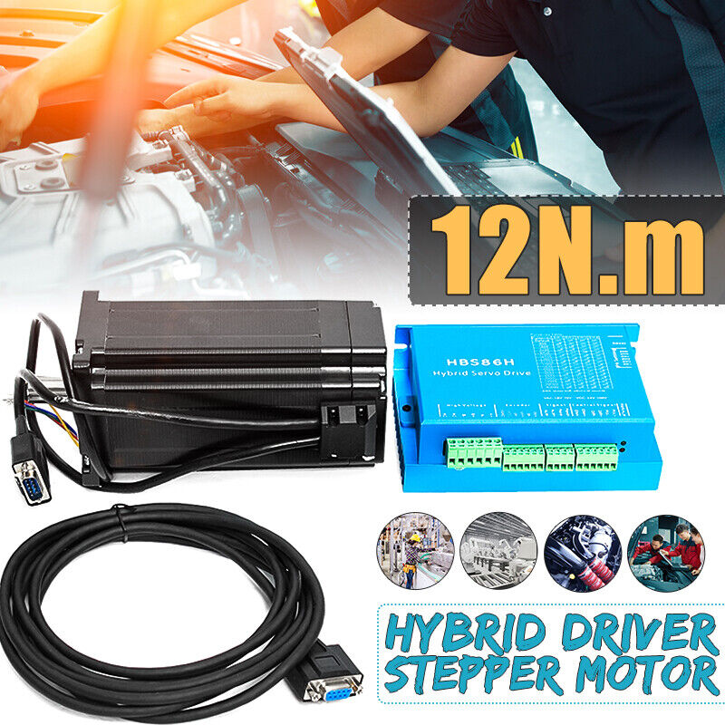 NEMA34 12N.m 6A Closed Loop Motor + 86HSE4N-B32 Stepper Driver HSS86 Coding line