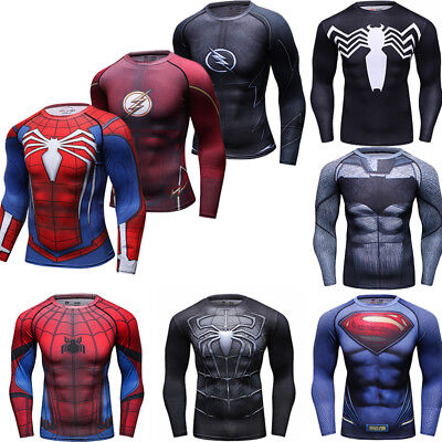 Männer Marvel Superhelden T Shirts Compression Sport Tee Spandex Langarm Cosplay