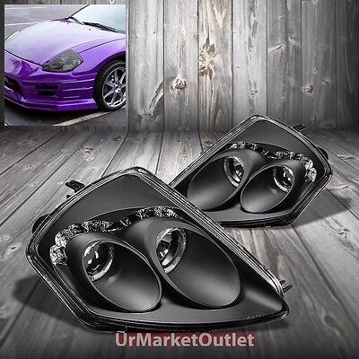 Black Housing Dual Halo Projector Drl Headlight For Mitsubishi 00 05 Eclipse