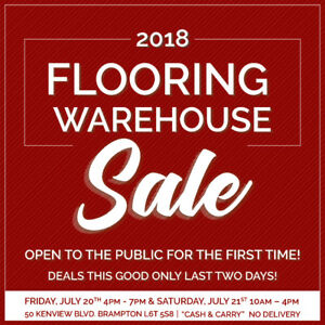 FLOORING WAREHOUSE SALE - SATURDAY JULY 21, 10-4! AMAZING DEALS!