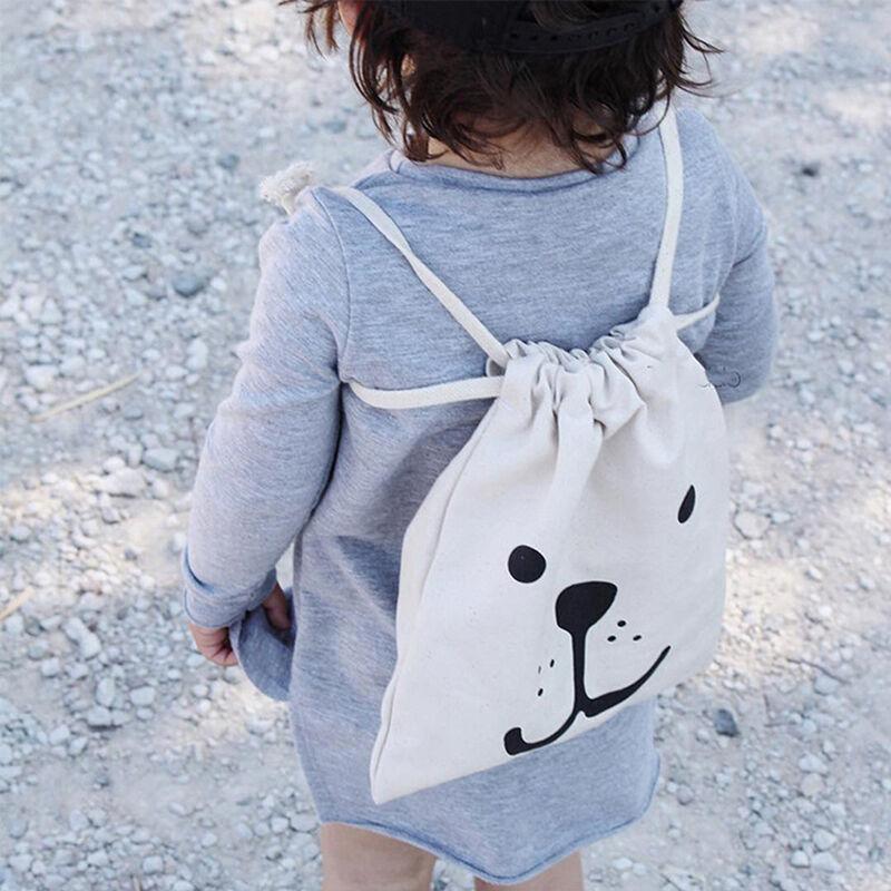 Storage Canvas Bags Cartoon Small Baby Kids Children Drawstr