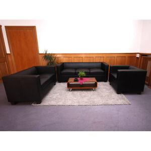 3-2-1 Sofagarnitur Couchgarnitur Loungesofa Lille Leder schwarz