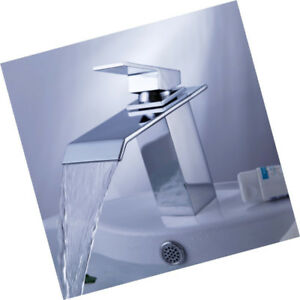Waterfall Bathroom Sink Faucet Single Handle + Deck Plate