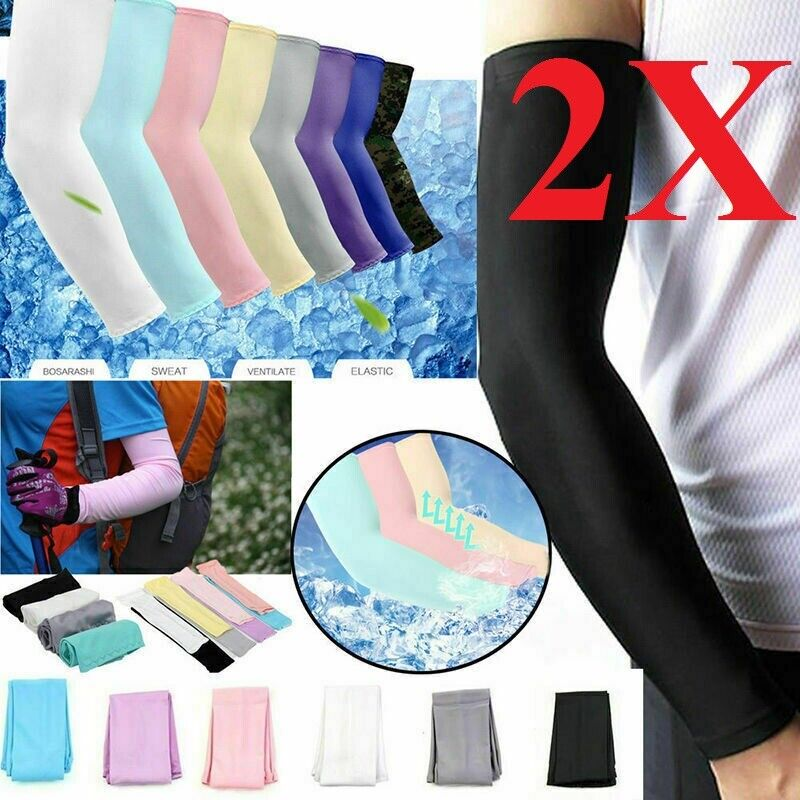 2 Pair Unisex Outdoor Sports Cooling Arm Sleeves Cover UV Sun Protection Basketball