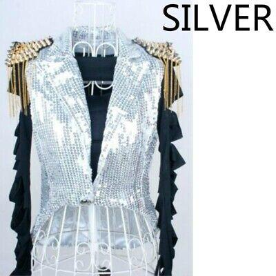 Lady Sequin Waistcoat Tuxedo Jackets Sleeveless Tassels Glitter - Tuxedo Dance Kostüme