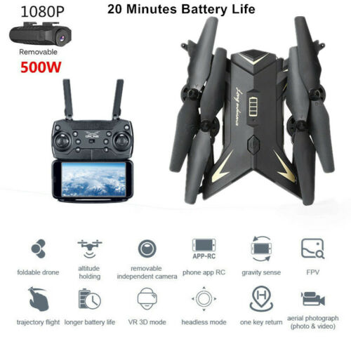 2019 Foldable RC Drone HD 5MP Camera Selfie WIFI 6-Axi Quadcopter Altitude Hold