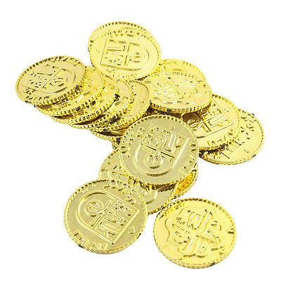 50pcs Plastic Pirate Gold Play Toys Coin Birthday Party Favors Pinata Money (Pirate Pinata)