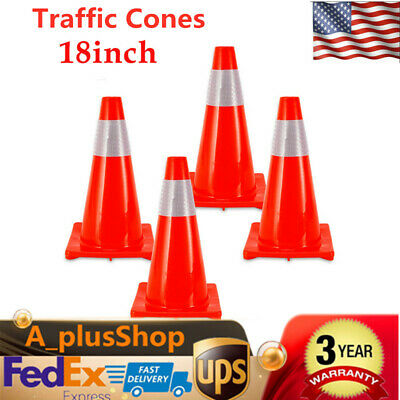 4pcs 18 Road Traffic Cones Fluorescent Reflective Road Safety Parking Cones Usa