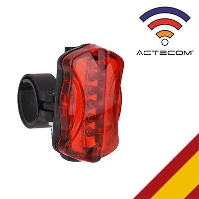 ACTECOM® LUZ TRASERA LED PARA MOUNTAIN BIKE BICICLETA 6 MODOS LUCES SEGURIDAD