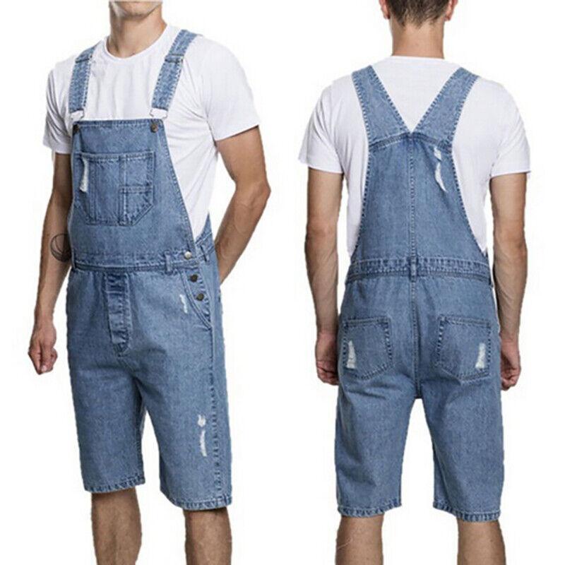 Men Denim Overall Comfy Bib Playsuits Plain Button Jeans Summer Shorts Dungarees