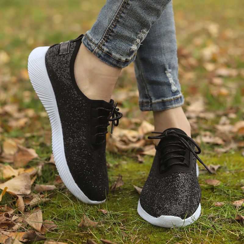 Women/'s Glitter Trainers Lace Up Flats Sports Sneakers Pumps Shoes Size 3.5-8