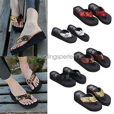 Women Wedge Sandals Sequin Thong  Flops Flat shoes Slippers Summer Soft g/s ()
