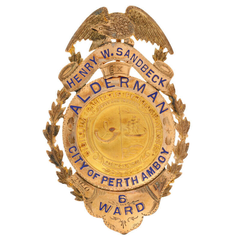 1910-1914 Alderman City Council Badge - 10k Gold Perth Amboy New Jersey Sandbeck