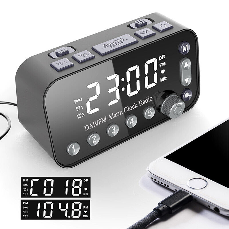 LED Digital DAB+FM Radio Clock Alarm Sleep Bedside Large Size Display Dual Timer