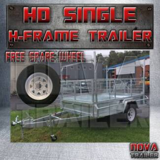 7x4 NoBrake With Cage and H❄Frame Medium Duty Galvanized Trailers
