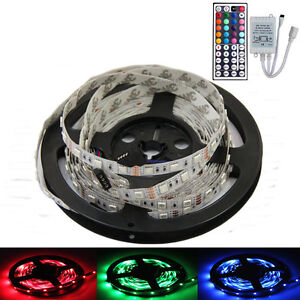 5M-500CM-5050-RGB-300Leds-SMD-Flexible-Lamp-Light-Strip-DC-12V-44KEY-IR-remote