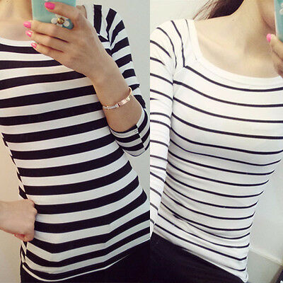 Womens Long Sleeve Shirt Striped Casual Blouse Slim Fashion Autumn Tops T Shirt