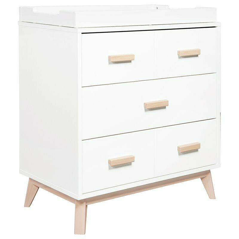 Babyletto Scoot 3 Drawer Baby Dresser with Changing Tray in White