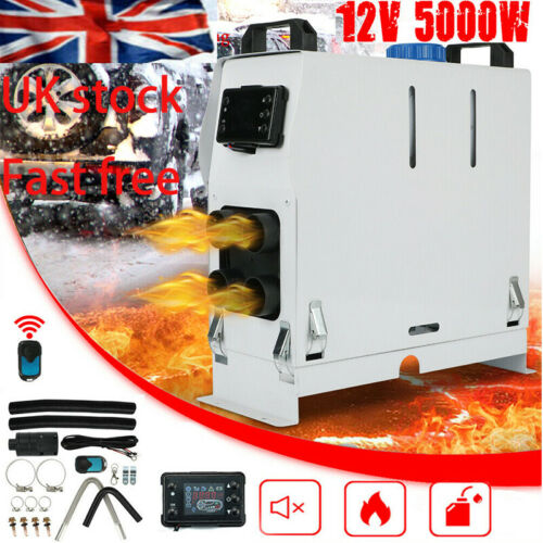 12V 5KW Air night Diesel Fuel Heater LCD Monitor 4 Holes PLANAR Trucks Boats Car