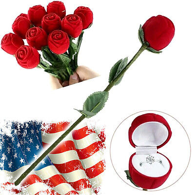 Romantic Red Rose Flower Ring Gift Box for Anniversary Wedding Proposal & Gifts