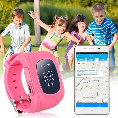 New Monitor Children GPS Tracking Device SIM Q50 Smart Watch Safety Tracker Pink