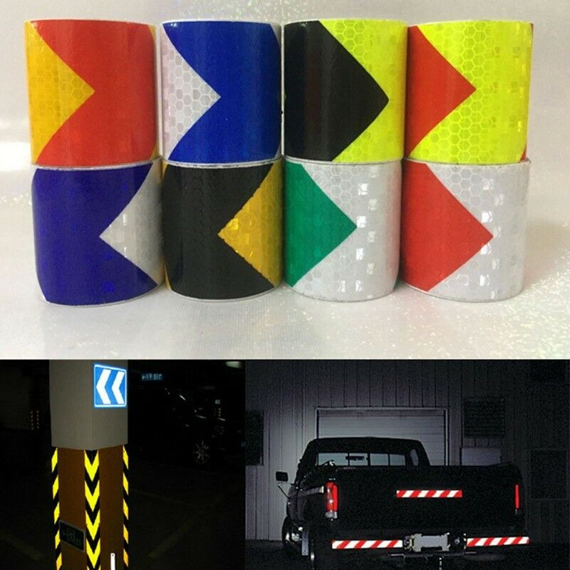 1Roll  Night Reflective Safety Warning Conspicuity Tape Strip Arrow Sticker