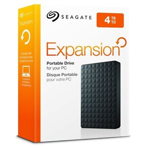 """SEAGATE """" 4TB EXPANSION"""" PORTABLE HARD DRIVE NEW"""