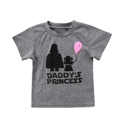 Daddy's Princess Star Wars Pattern Baby Girls Kids Cotton T-shirt 6 12 18 24 M