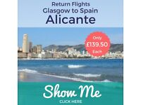 **30% OFF THE AIRLINE'S PRICE** Cancellation! 2 Return FLIGHTS TO ALICANTE from GLASGOW