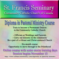 Diploma in Pastoral Ministry online course starting in November