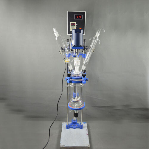 5L Chemical Lab Supply Jacketed Glass Reactor Vessel Digital Display 220v Tool