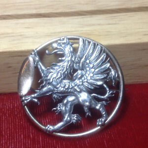 Beautiful Antique Sterling Griffin Brooch