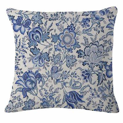 18''  Pillow Cotton Decor flowers Blue Throw Case Cover Vintage Cushion Linen Blue Cushion Cover