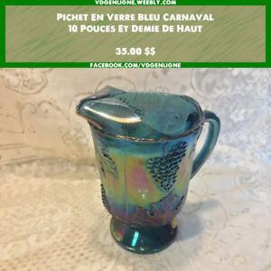 Vaisselle Carnaval - Pichet en verre bleu
