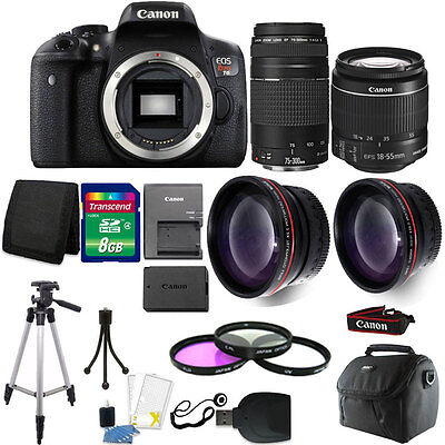 Canon EOS Rebel T6 DSLR Camera + 18-55mm IS II + 75-300mm 4 Lens Best Value
