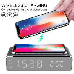 QI Wireless Charger &Desk Alarm Clock for Apple iPhone 11 Pro X XR XS Max 8 plus
