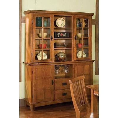 Hutch and Buffet China Cabinet Cottage Oak Kitchen Dining Room Storage Display