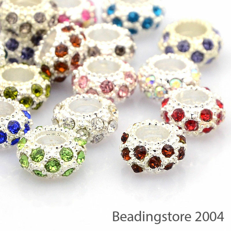 Box Assorted Rhinestone Rondelle Spacer Beads For European Charm Silver Gold Mix