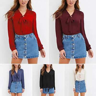 Women Ladies Bow Tie Chiffon Blouse Office OL Style Long Sleeve Work Shirt Tops](Chiffon Bows)