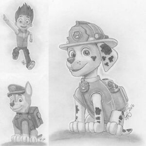 Paw patrol and pj masks drawings