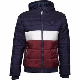 UCLA Mens Spears Puffer Padded Jacket Navy/White/Burgundy - New with Labels RRP £79.99