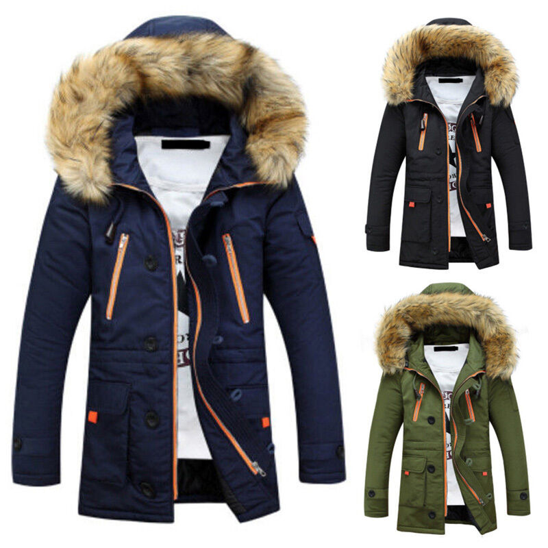 herren winter parka steppjacke winterjacke fell kapuze jacke mantel graben s m l eur 39 99. Black Bedroom Furniture Sets. Home Design Ideas