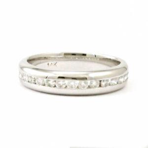 14k White Gold Diamond Wedding Band, Size 5.75, Estate #3854
