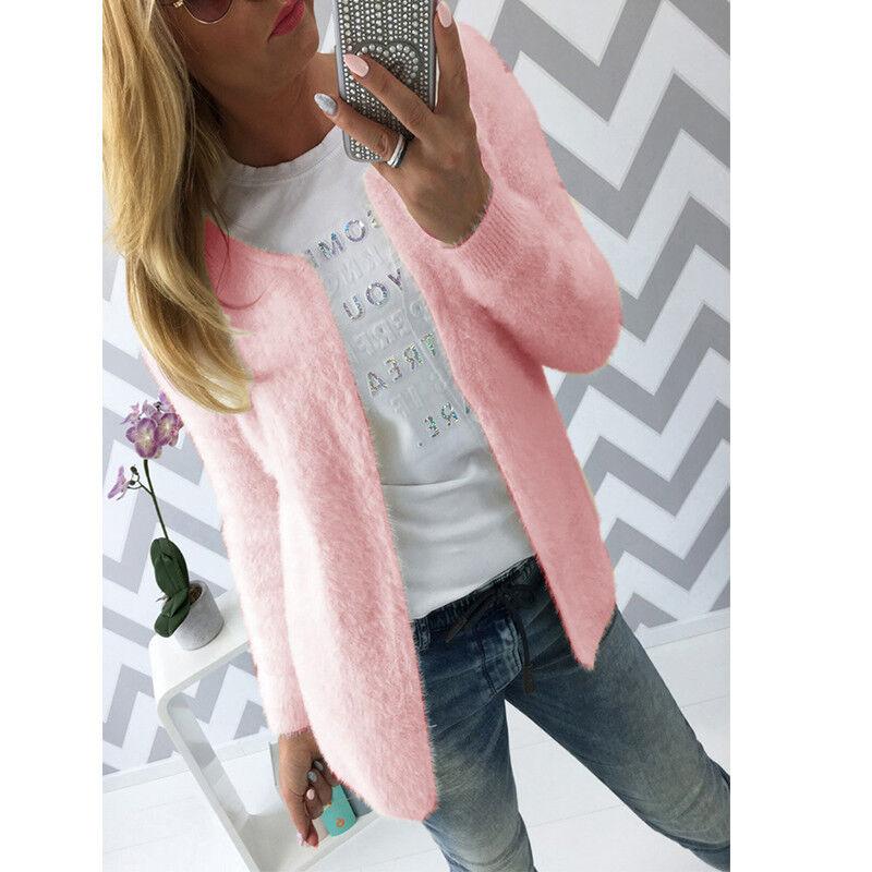 Women's Cardigan Top Fleece Fur Sweater Jumper Jacket Winter Warm Outerwear Coat