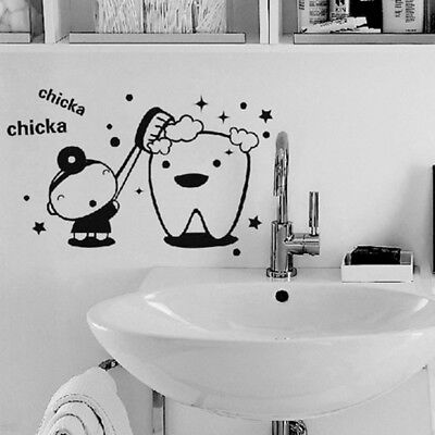 Tooth Kids Baby Teeth Brush Wash Cleaning Dental Care Wall Decal Sticker Decor