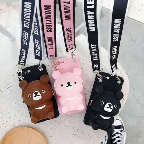 For iPhone 11 Pro XS XR MAX 8 Cute Wallet Coin Purse Bag Cas