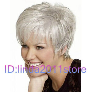 New Light Silver Gray Straight Hair Wavy Wigs Fashion Ladies Short Perückeb NEW.