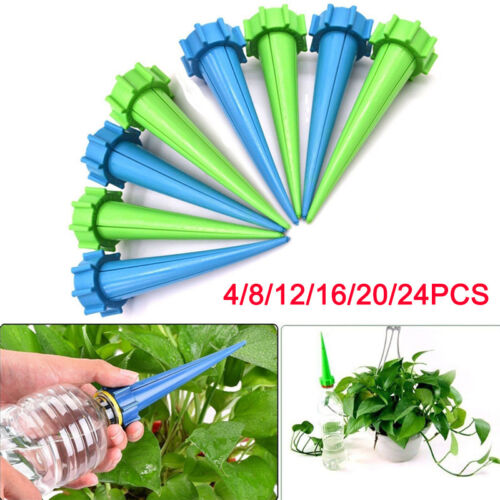 4//12Pcs Automatic Watering Irrigation Spikes Garden Plant Flower Bottle Dripp